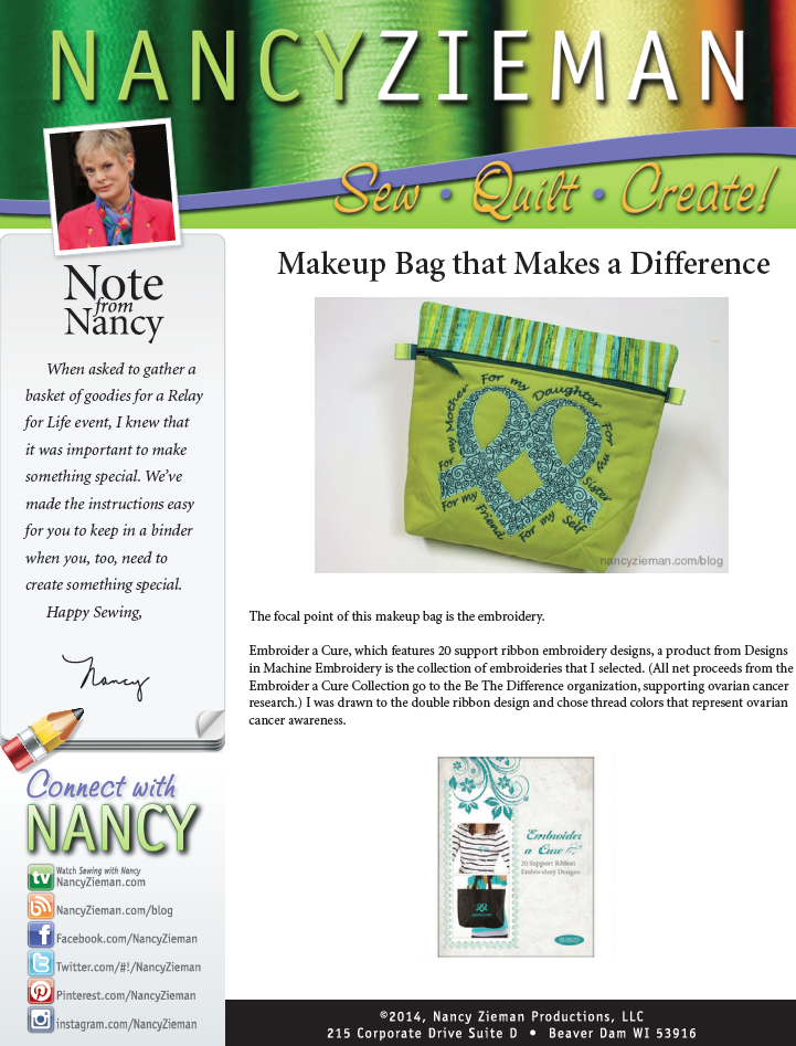 Nancy Zieman's Makeup Bag Project Sheet