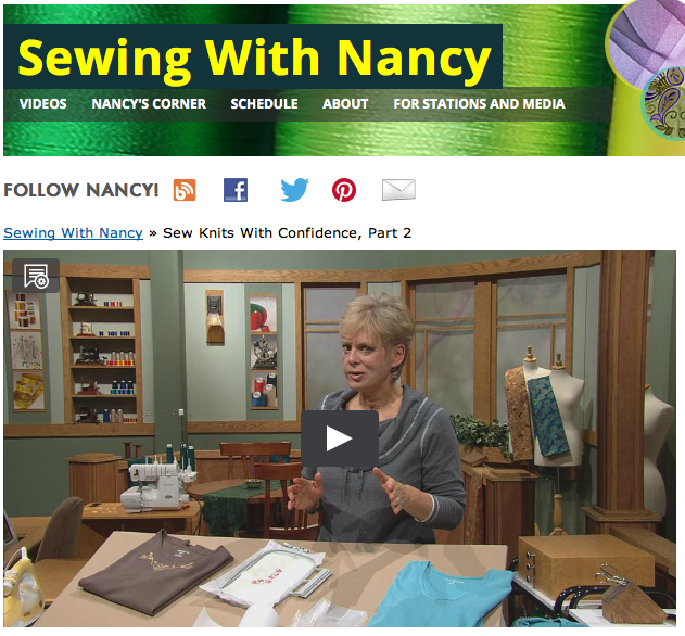Sew Knits with Confidence Nancy Zieman Online TV show