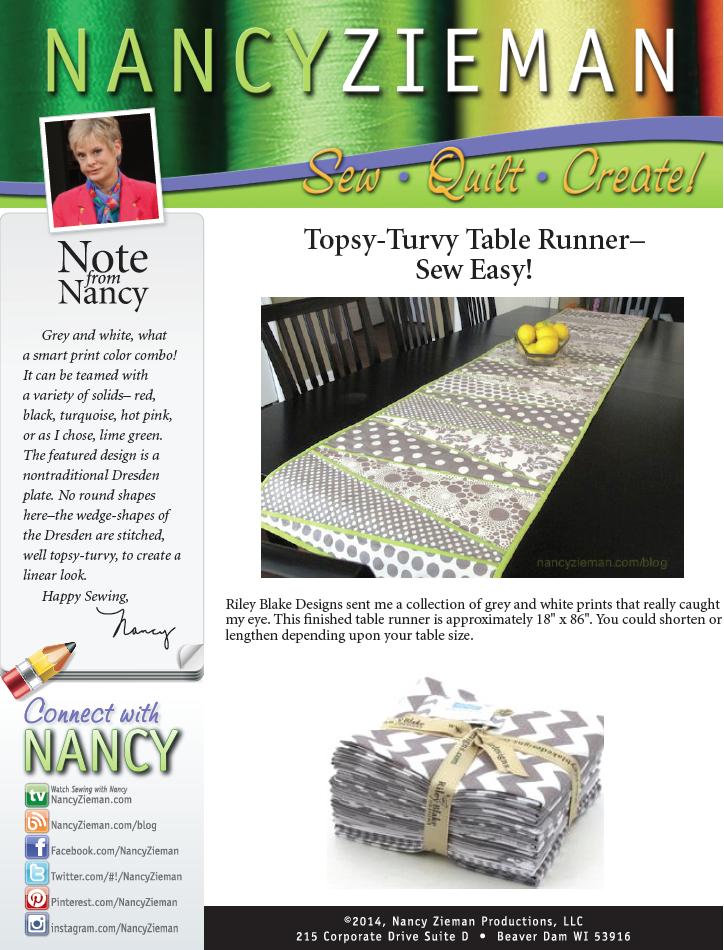 Nancy Zieman's Topsy-Turvy Table Runner Project Sheet