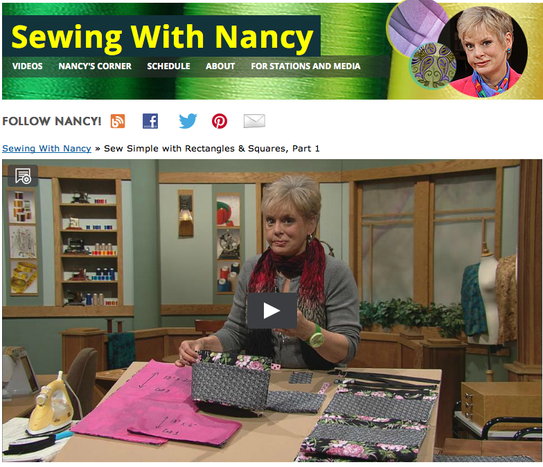 Sew Simple With Rectangles and Squares, a 3-part Sewing With Nancy series