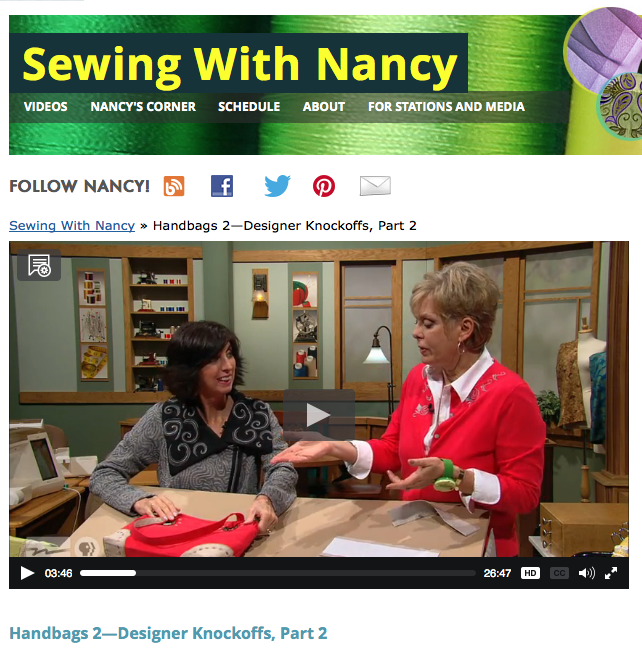 Sewing With Nancy Handbag Knockoffs Part Two with Nancy Zieman and Eileen Roche