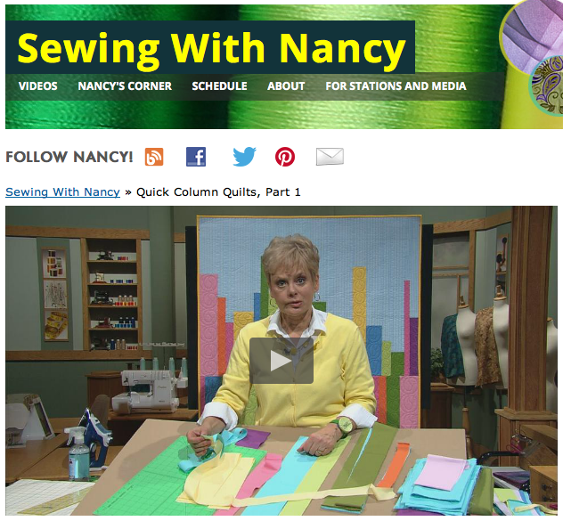 Quick Column Quilts as seen on Sewing With Nancy Zieman