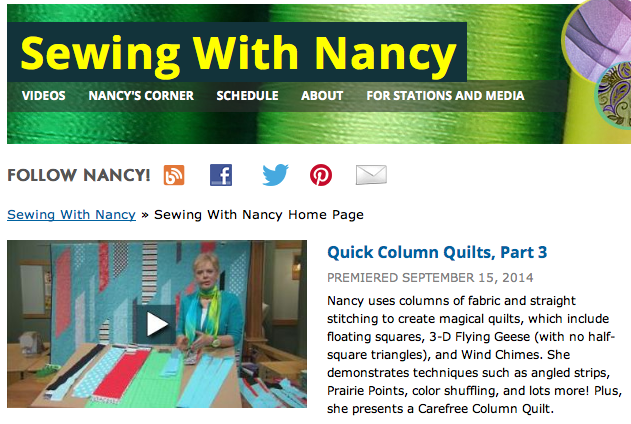 Quick Column Quilts on Sewing WIth Nancy with host Nancy Zieman