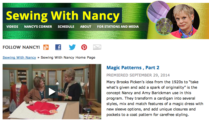 Magic Patterns by Amy Barickman as seen on Sewing With Nancy