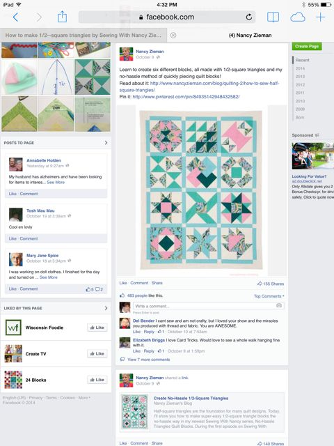 Nancy Zieman posts in your Facebook News Feed