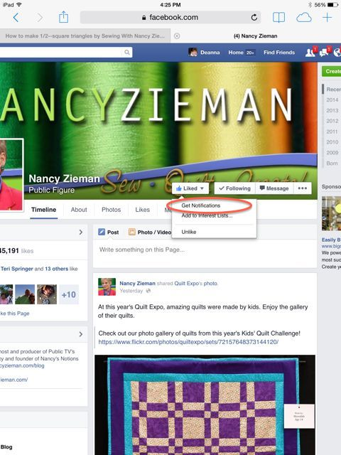 Receive Nancy Zieman Notifications on Facebook