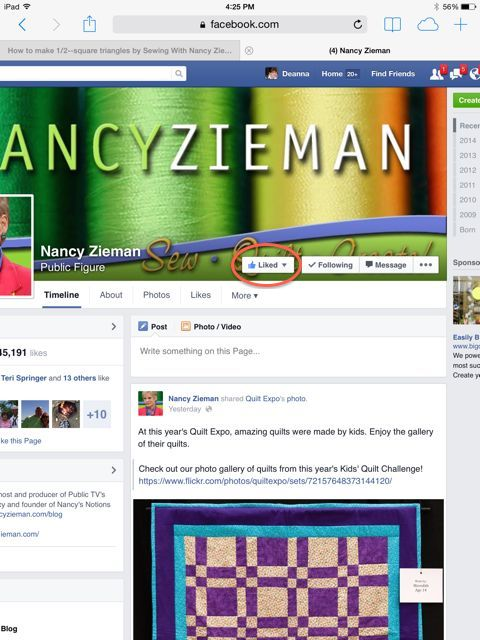 Nancy Zieman on Facebook Explains Liked Button