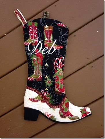 01 Carole D Cowboy Boot Christmas Stocking for Nancy Zieman Blog Challenge