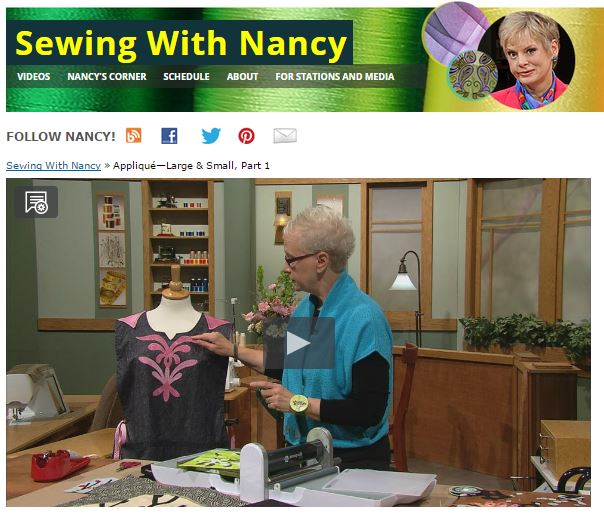 Applique large & small as see on Sewing With Nancy