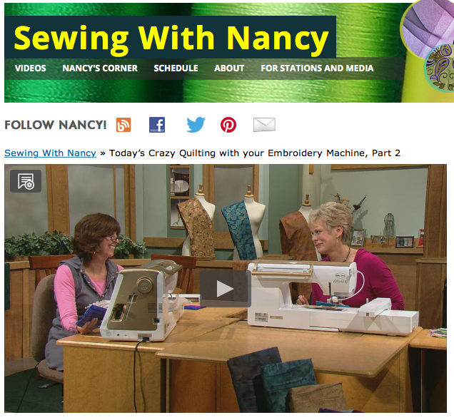 Today's Crazy Quilting with Your embroidery machine as seen on Sewing With Nancy Zieman Eileen with Roche