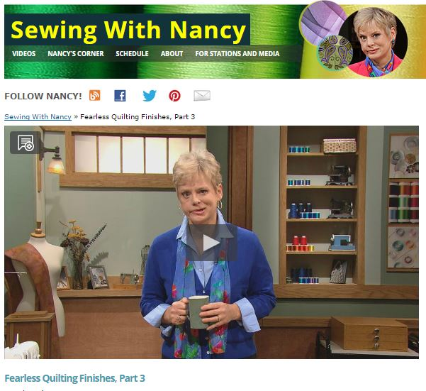 Fearless Quilting Finishes with Sewing With Nancy/NancyZieman