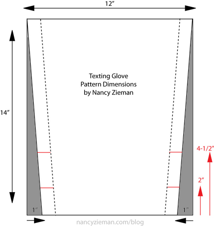 Texting Glove Pattern Drafting Dimensions by Nancy Zieman