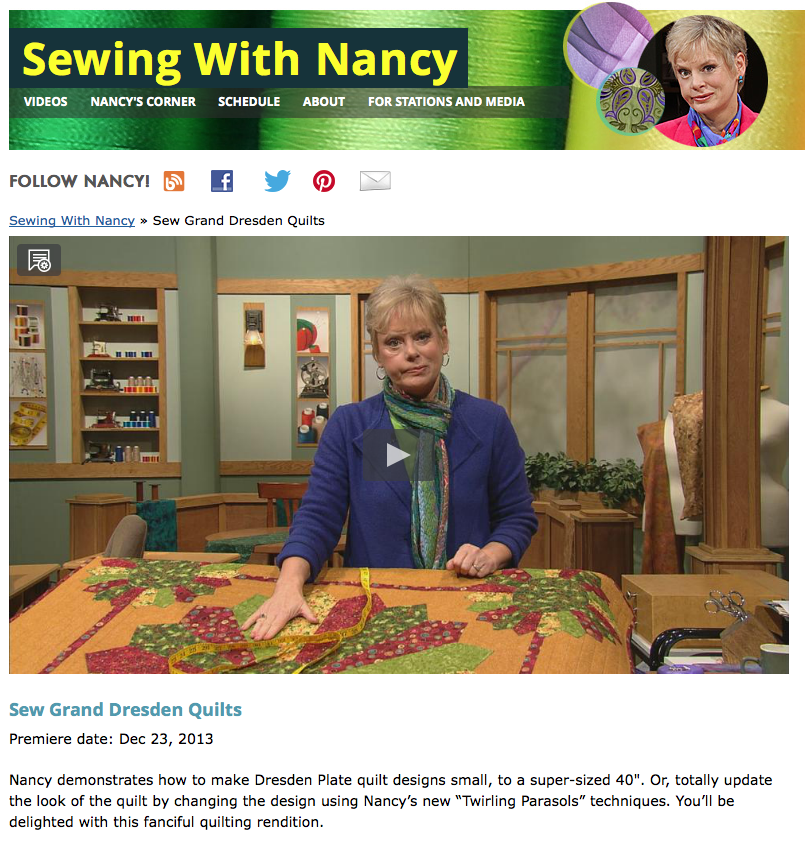 Sew Grand Dresden Quilts on Sewing With Nancy