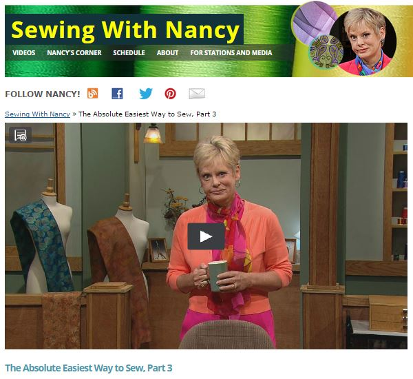 The Absolute Easiest way to Sew by Nancy Zieman/Sewing With Nancy