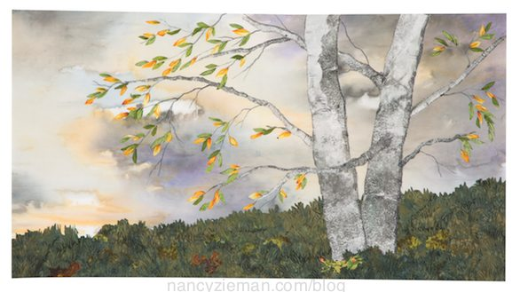 Landscape quilting by Natalie Sewell and Nancy Zieman, Old Friends by Natalie Sewell