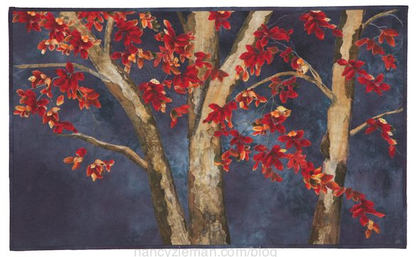 Landscape quilting by Natalie Sewell and Nancy Zieman, October Evening by Natalie Sewell