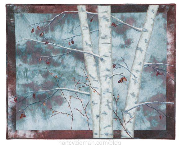 Landscape quilting by Natalie Sewell and Nancy Zieman, Blue Birches by Nancy Zieman