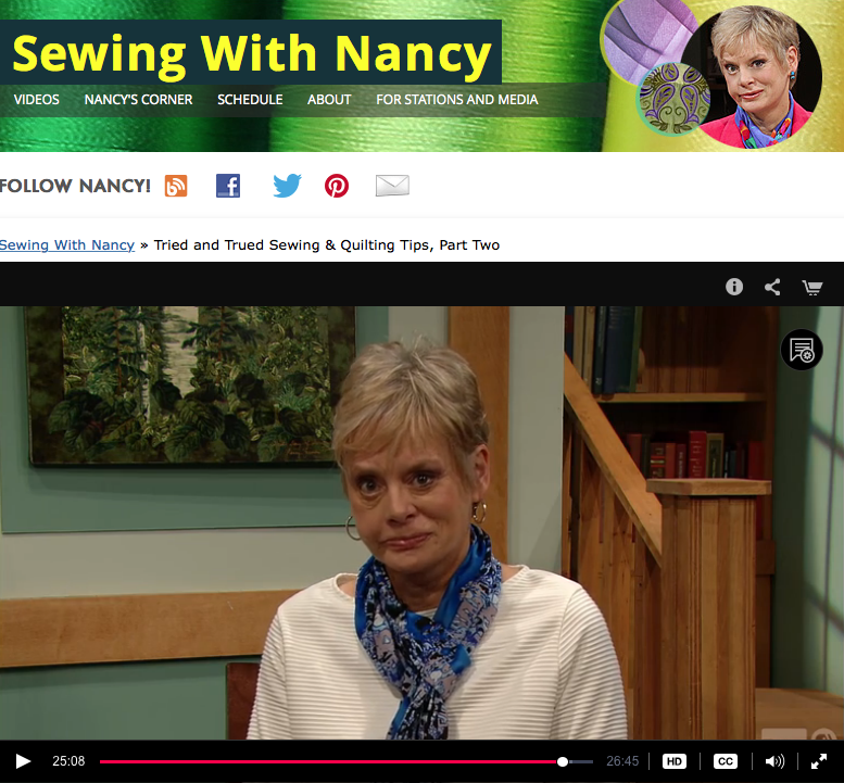 Nancy Zieman's 50 Tried and True Sewing & Quilting Tips Part Two as seen on Sewing With Nancy