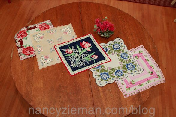 How to make a table runner from old hankies