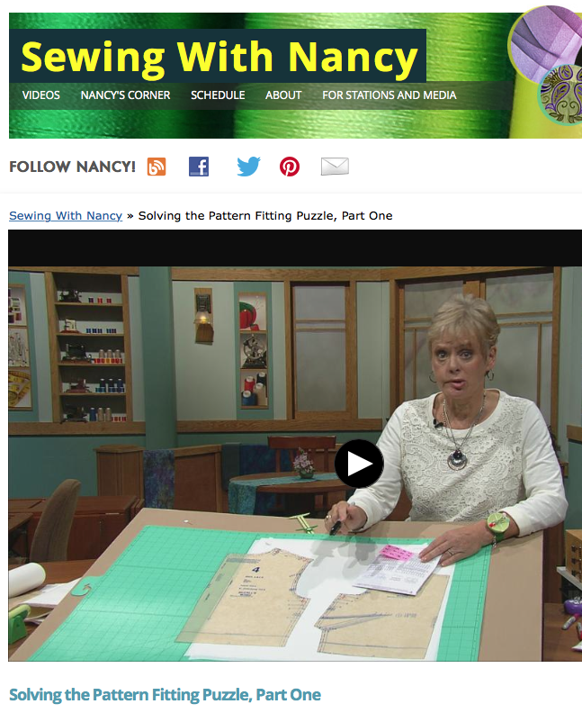 Solving the Pattern Fitting Puzzle DVD by Nancy Zieman of TV's Sewing With Nancy PBS Show. Learn how to fit sewing patterns.