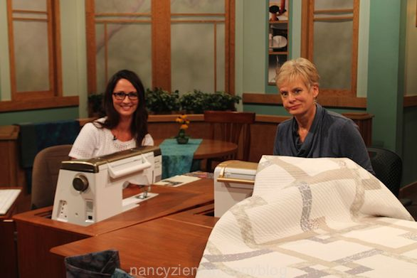 Natalia Bonner and Nancy Zieman on the Set of Sewing With Nancy