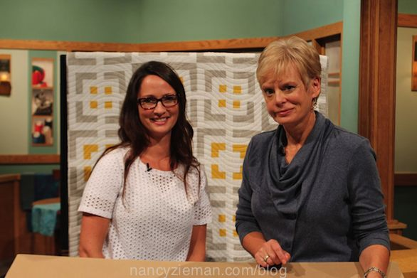 Natalia Bonner and Nancy Zieman on the Set of the Sewing With Nancy TV Show for Cabin Fever Quilts
