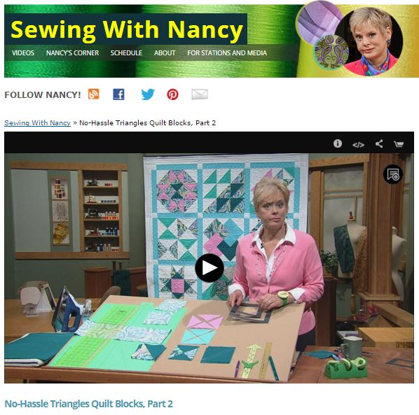No-Hassle Triangle Quilt Blocks on Sewing With Nancy | PBS | Nancy Zieman