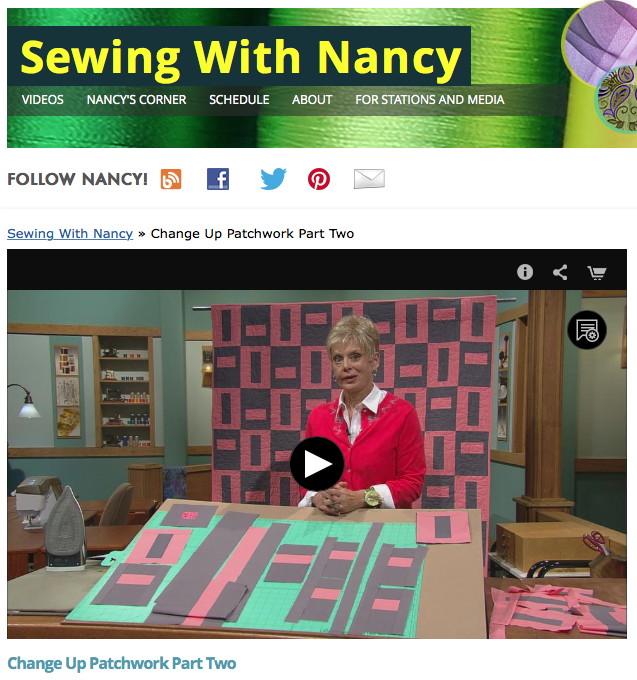 Change-Up Patchwork Part Two on Sewing With Nancy with host Nancy Zieman