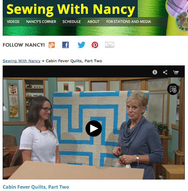 Cabin Fever Quilts Natalia Bonner and Sewing With Nancy Zieman
