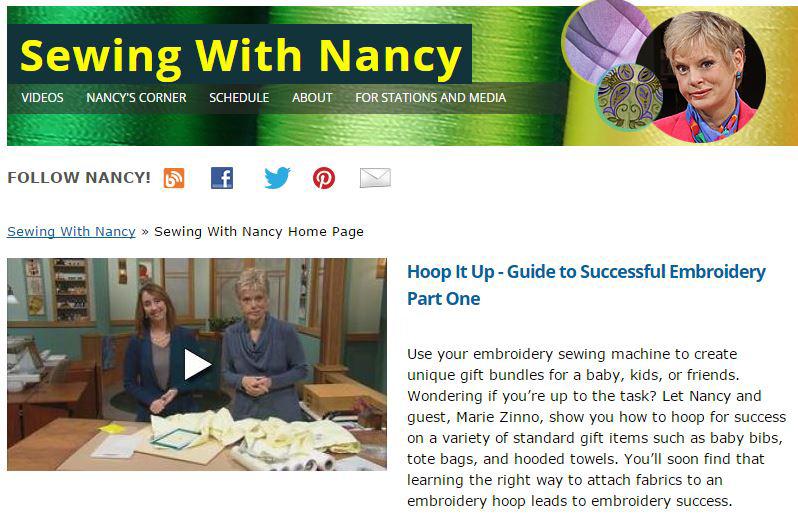 Hoop It Up Machine Embroidery by Nancy Zieman | Sewing With Nancy | How to Machine Embroider a Onesie