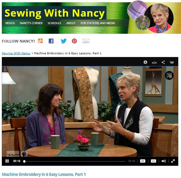 Learn How To Machine Embroidery In Six Easy Steps on Sewing With Nancy Zieman