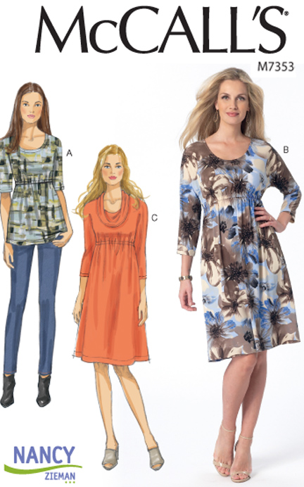 McCall's M7353 Knit Dress and Top pattern by Nancy Zieman available at ShopNZP.com