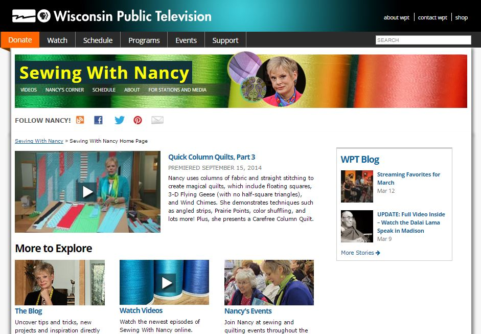 Watch Nancy Zieman on Sewing With Nancy