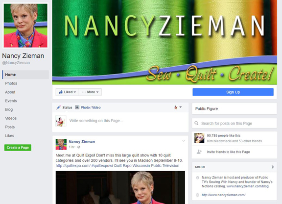 Like and Follow Nancy Zieman on Facebook