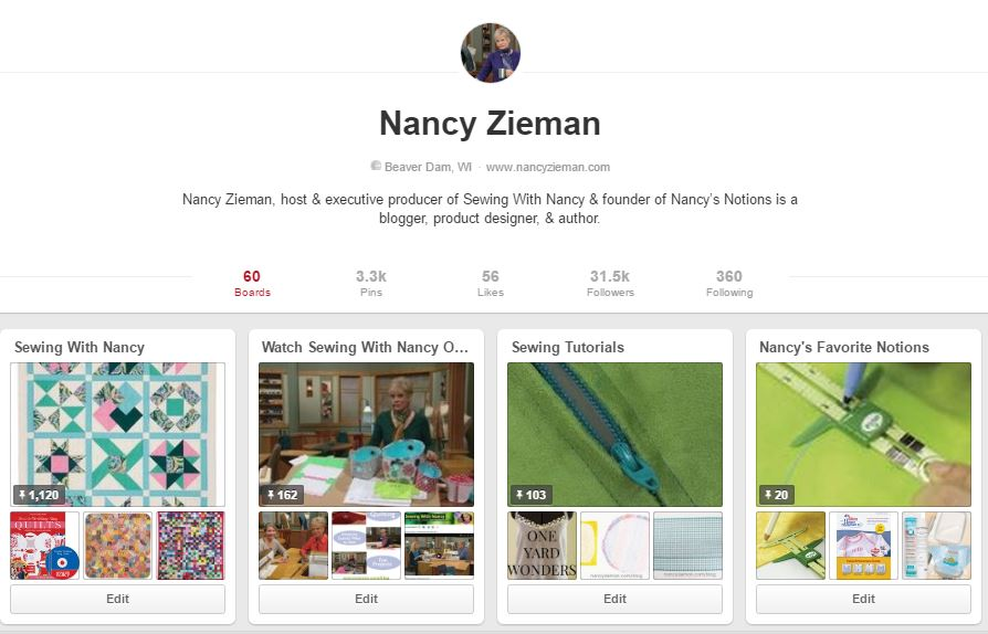 Like and Follow Nancy Zieman on Pinterest