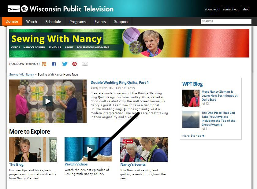 Watch Nancy Zieman on Sewing With Nancy Online Today
