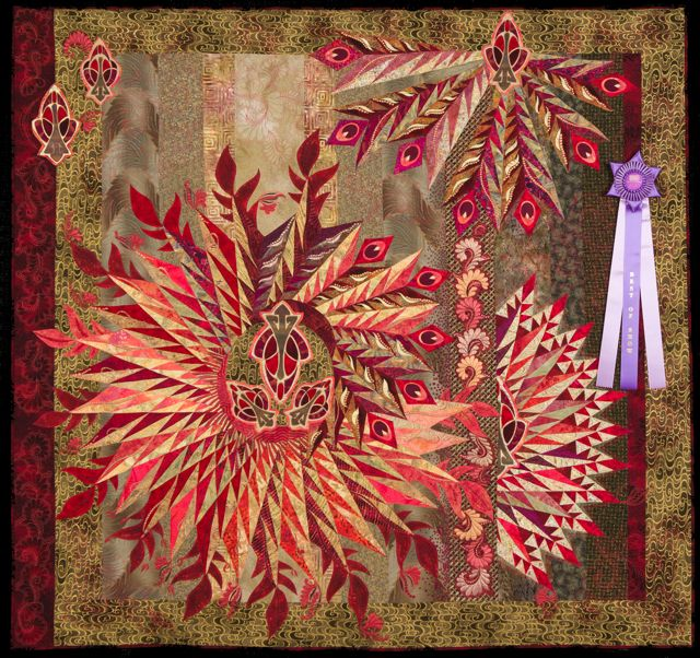2015 Quilt Expo Best of Show Red Feathers Marilyn Badger Claudia Clark Myers