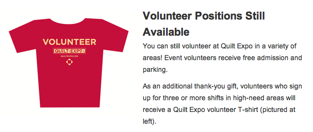 Free Quilt Expo T-Shirt When You Sign Up To Volunteer
