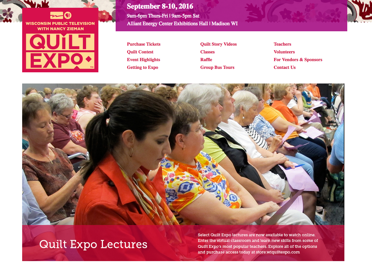 Quilt Expo, September 8-10, 2016 in Madison WI