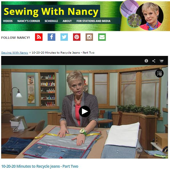Recycle Jeans Sewing With Nancy Part Two