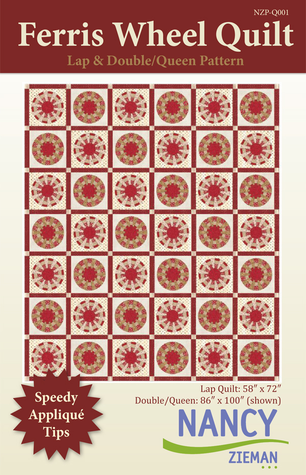 Quilt Pattern by Nancy Zieman, Ferris Wheel Quilt featuring Garnet fabric line