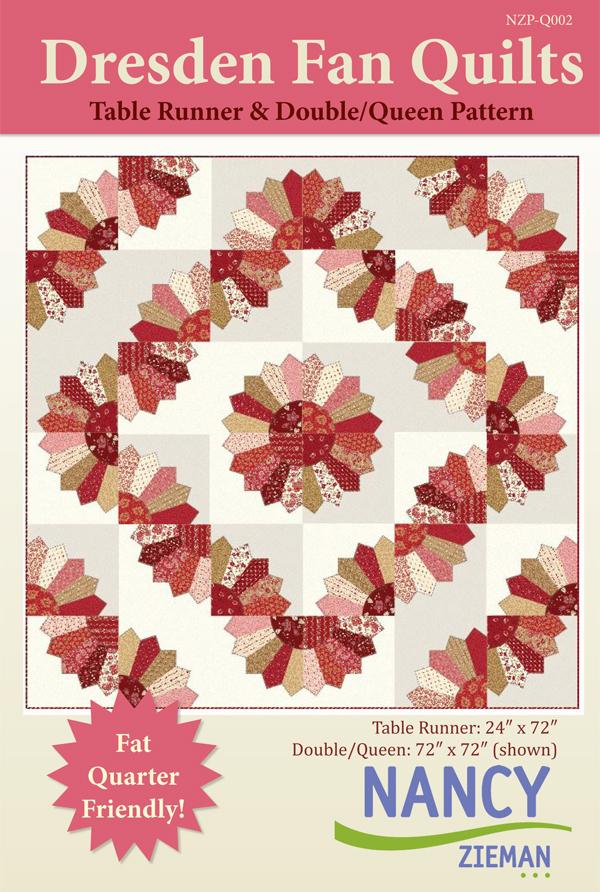 Quilt Pattern by Nancy Zieman, Dreden Fans featuring Garnet fabric line