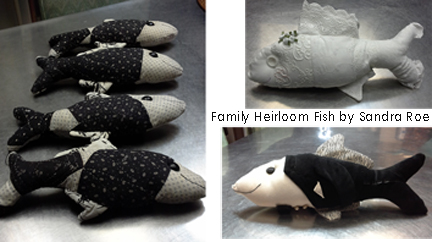 Stuffed Pillow Fish by Sandra Roe made from Family Heirloom Textiles