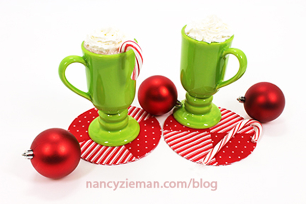 Sew Peppermint Holiday Themed Mug Rug Drink Coasters with this tutorial from Nancy Zieman | Sewing With Nancy