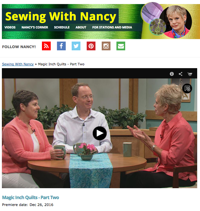 Modern Magic Inch Quilts on Sewing With Nancy with Nancy Zieman, Weeks Ringle and Bill Kerr