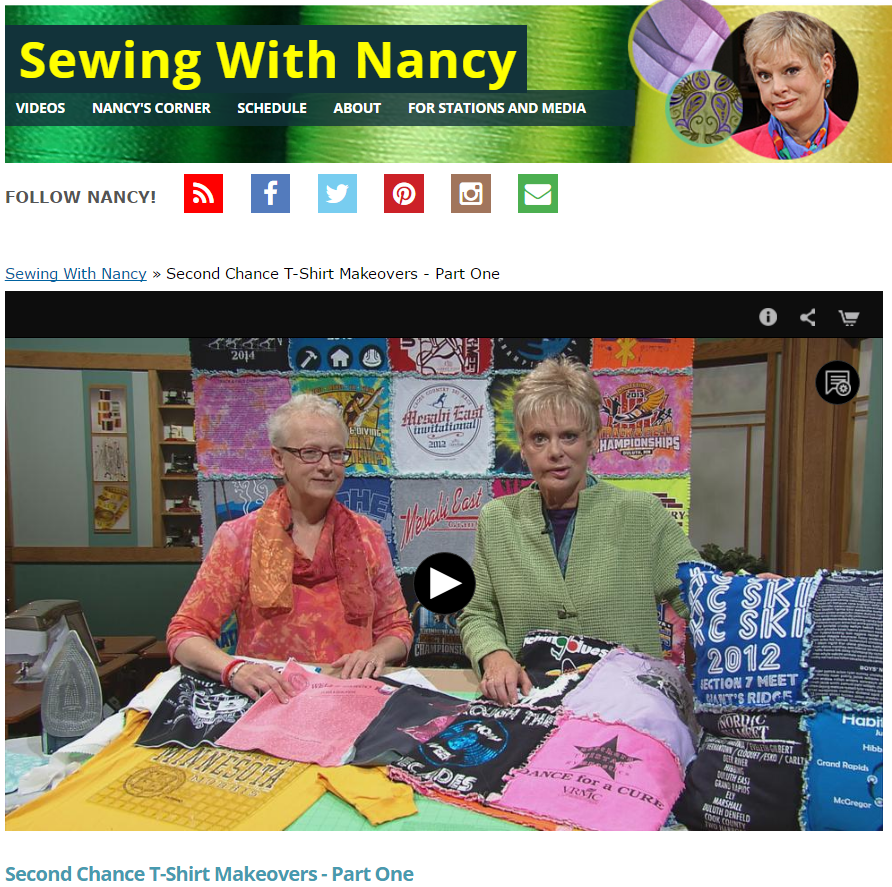 Second Chance T-Shirt Gifts by Mary Mulari on Sewing With Nancy - Nancy Zieman - Recycle T-Shirts - T-shirt Quilts