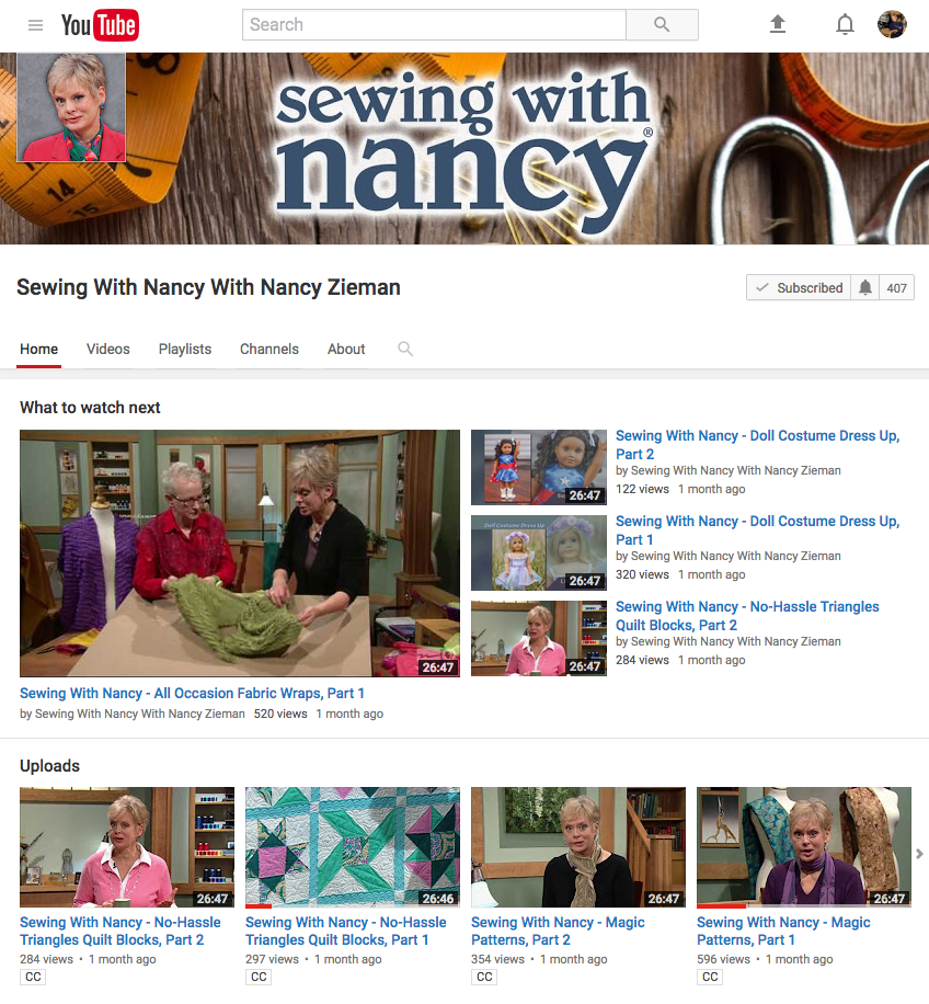 Watch Sewing With Nancy on the Official Sewing With Nancy YouTube Channel