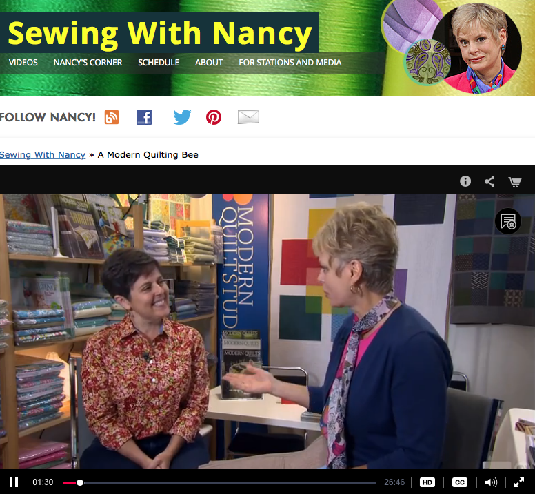 Watch a Modern Quilting Bee on Sewing With Nancy with Host Nancy Zieman