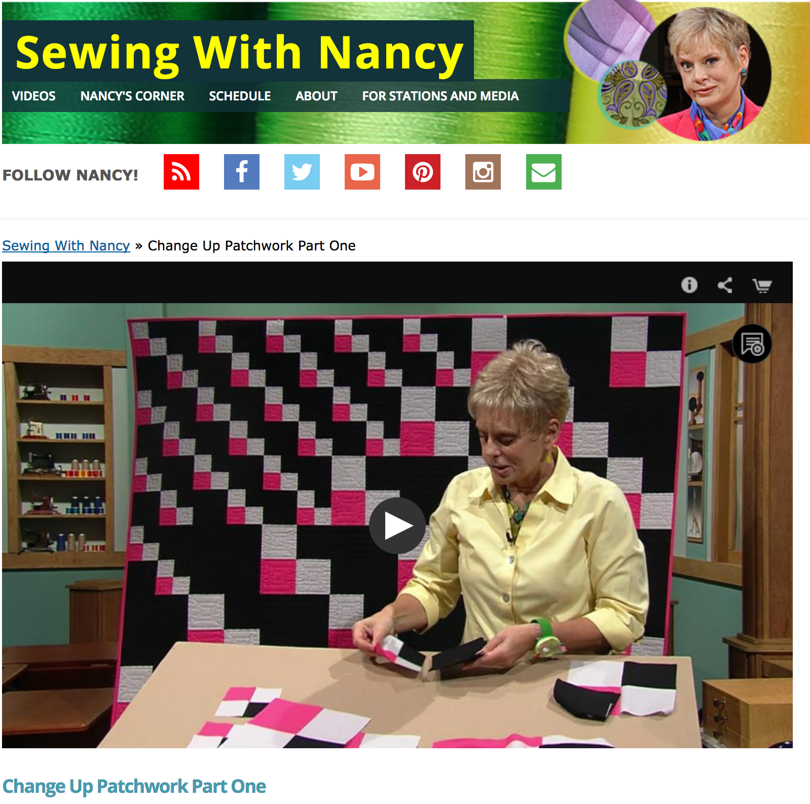 Change-up Patchwork, How to Sew a 4-patch block, Nancy Zieman, Sewing With Nancy
