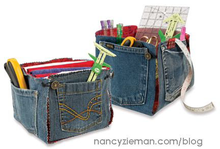 Recycle Denim Fabric Bins by Nancy Zieman - Sewing With Nancy - Red, White, and Blue